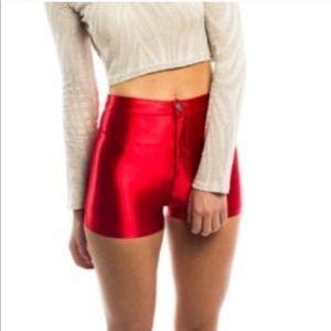 American Apparel Red Disco Shorts ♥️💋♥️♦️